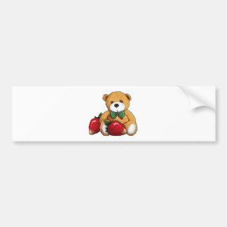Teddy Bear With Strawberries, Original Colorful Bumper Sticker