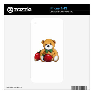 Teddy Bear With Strawberries, Original Colorful iPhone 4S Decals