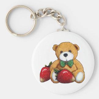 Teddy Bear With Strawberries, Original Colorful Keychain