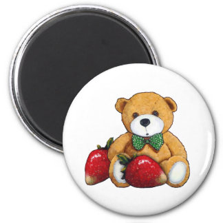 Teddy Bear With Strawberries, Original Colorful Magnet