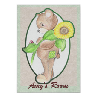 Teddy bear with Sunflower Poster