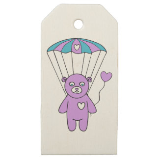 Teddy bear wooden gift tags