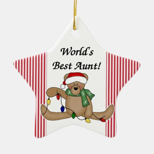 Teddy Bear World's Best Aunt Ornament