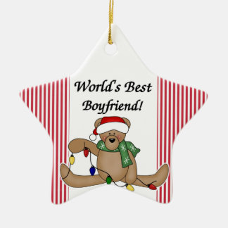 Teddy Bear World's Best Boyfriend Ornament