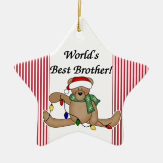 Teddy Bear World's Best Brother Ornament