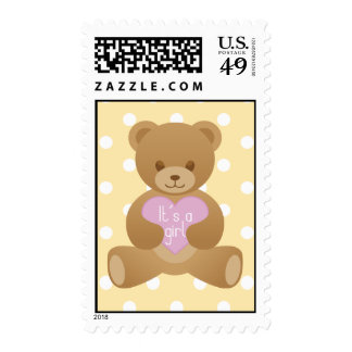 Teddy bear yellow and purple Stamp
