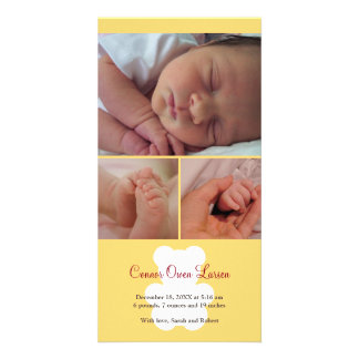 Teddy bear yellow montage baby birth announcement customized photo card