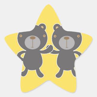 Teddy bear - Yellow Star Sticker