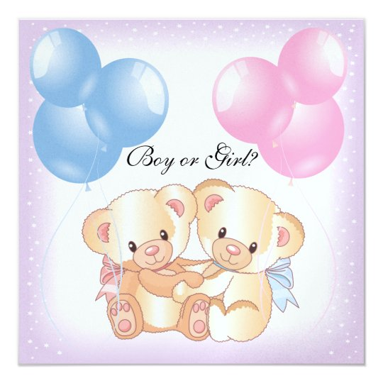 Teddy Bears and Balloons Gender Reveal Party Invit Card