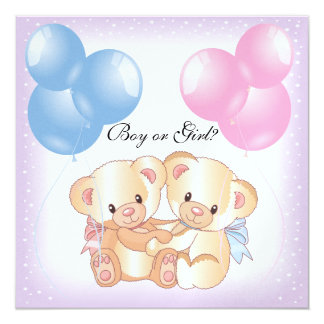 Teddy Bears and Balloons Gender Reveal Party Invit 5.25x5.25 Square Paper Invitation Card