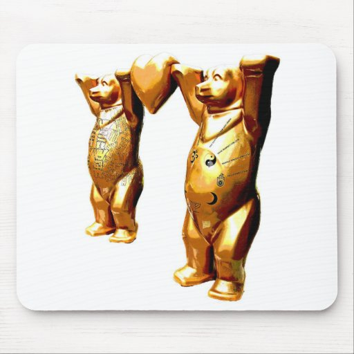Teddy Bears and Heart, Gold, White Back (pz) Mouse Pad