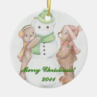 Teddy Bears and Snowman Ornament