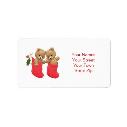Teddy bears and stockings Christmas Label