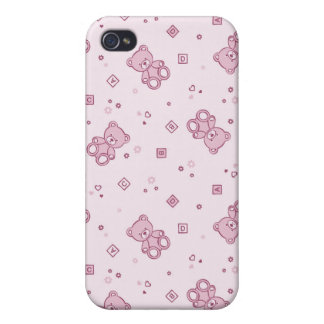 Teddy bears background Pink Cover For iPhone 4