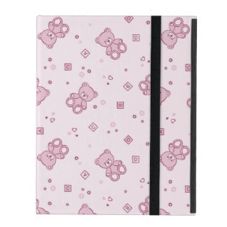 Teddy bears background Pink iPad Cover