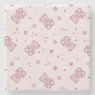 Teddy bears background Pink Stone Coaster