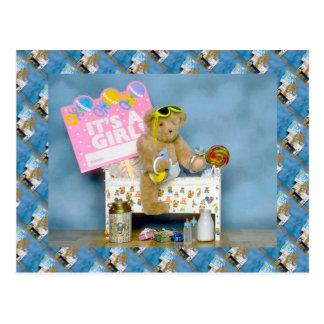 Teddy bears, bearly baby, It's a girl! Postcard