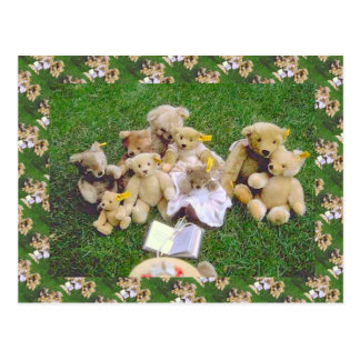 Teddy bears bearly family gathering postcards