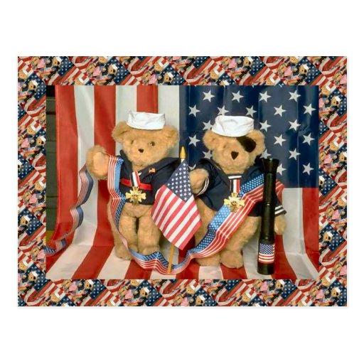 Teddy bears, bearly veterans, American patriotic Postcard