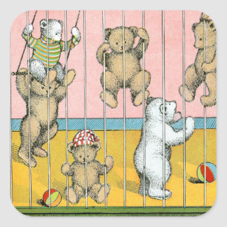 Teddy Bears Behind Bars Square Sticker