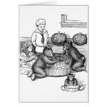 Teddy Bears Bobbing for Apples on Halloween Cards