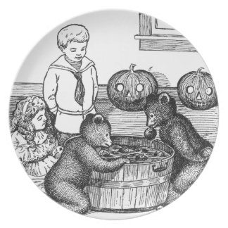 Teddy Bears Bobbing for Apples on Halloween Melamine Plate