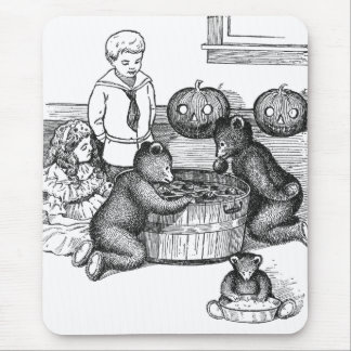 Teddy Bears Bobbing for Apples on Halloween Mouse Pad