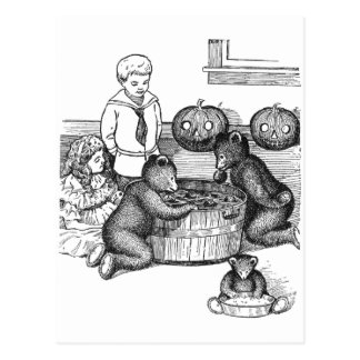 Teddy Bears Bobbing for Apples on Halloween Postcard