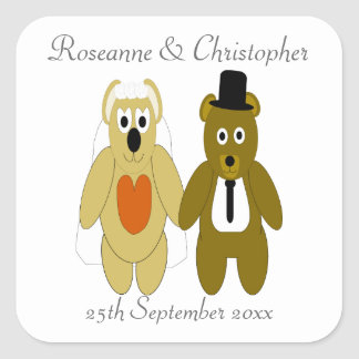 Teddy Bears Bride And Groom Square Sticker