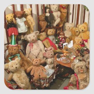 Teddy Bears Collectors Paradise Square Sticker