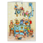Teddy Bears Cooking in Kitchen Childrens Card Wenskaart