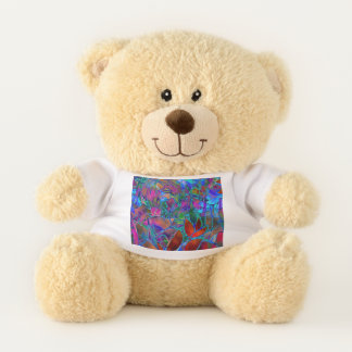 Teddy Bears  Floral Abstract Stained Glass