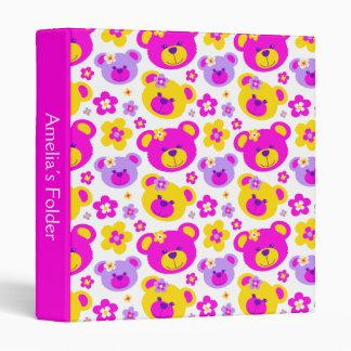 Teddy bears flowers yellow pink name folder