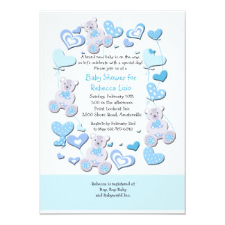 Teddy Bears & Heart Balloons Blue Invitation