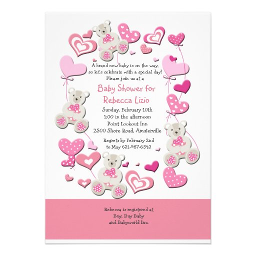 Teddy Bears & Heart Balloons Pink Invitation