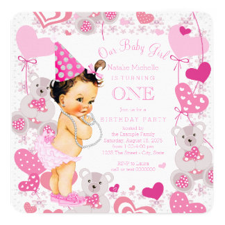 Teddy Bears Hearts Girls 1st Birthday Party Card