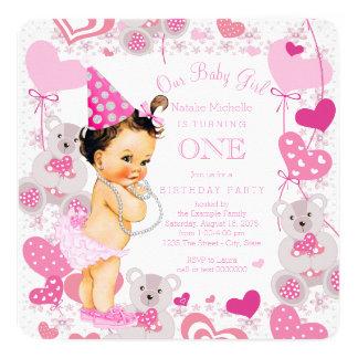 Teddy Bears Hearts Girls 1st Birthday Party Card