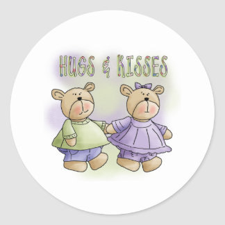 Teddy Bears Hugs and Kisses Round Sticker