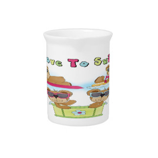Teddy Bears I Love To Swim Beverage Pitcher