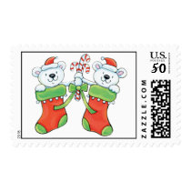 Teddy Bears in Christmas Stockings Postage