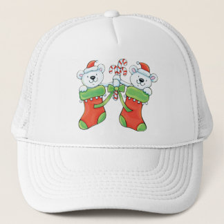 Teddy Bears in Christmas Stockings Trucker Hat