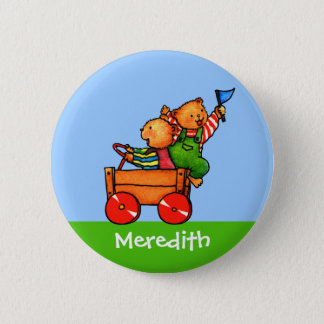 Teddy Bears in Soapbox Car  -  Baby T-shirt Two be Pinback Button