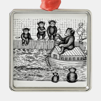 Teddy Bears in the Bathtub and Riding an Ark Metal Ornament