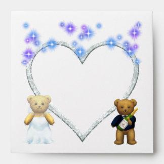 ,Teddy Bears lilac Wedding Invite - Invitation Envelope