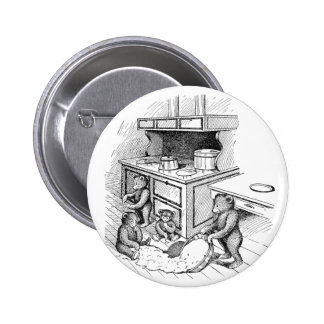 Teddy Bears Make a Mess in the Kitchen Pinback Buttons