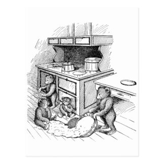 Teddy Bears Make a Mess in the Kitchen Postcard