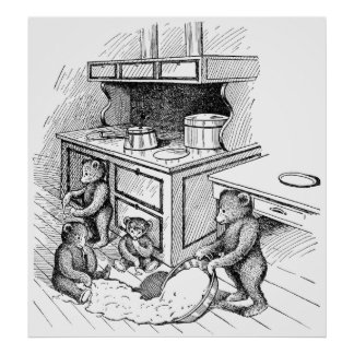 Teddy Bears Make a Mess in the Kitchen Print