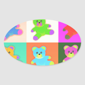 teddy bears oval sticker