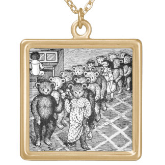 Teddy Bears Pair Up for the Dance Gold Plated Necklace