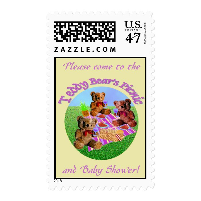 Teddy Bears Picnic baby shower stamps